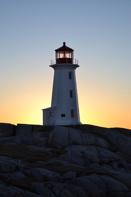 Nova, Scotia, Peggy's, Cove, Lighthouse, Sunset