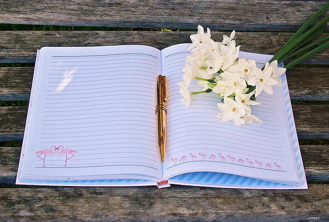 Journal, Pen, Flowers, Write, Diary, Notebook, Book