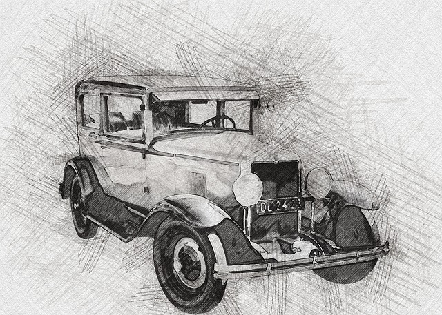 Car, Pencil, Sketch, Art, Manipulation, Effect
