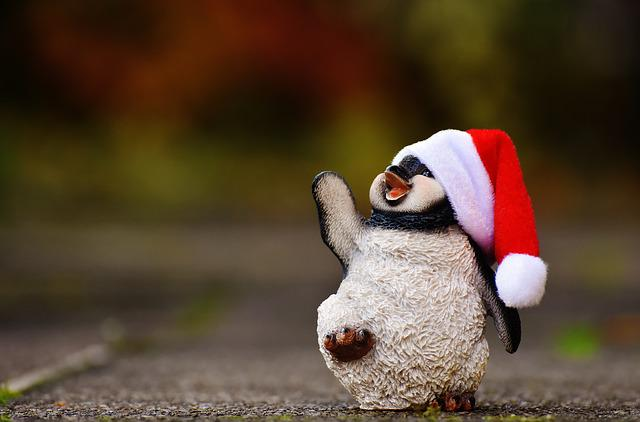 Penguin, Fig, Christmas, Santa Hat, Decoration, Funny