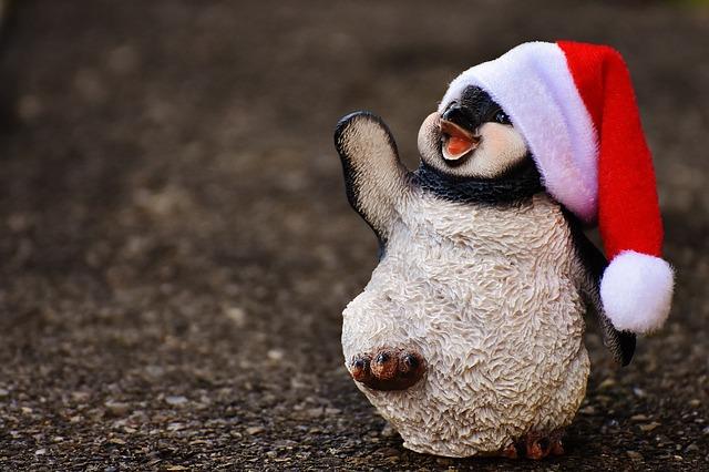 Penguin, Figure, Christmas, Santa Hat, Decoration