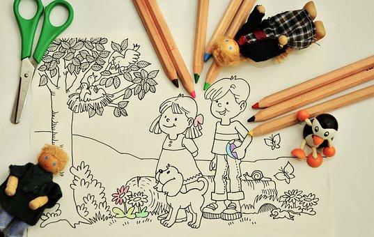 Paint, Tinker, Kindergarten, Pens, Coloring Pages