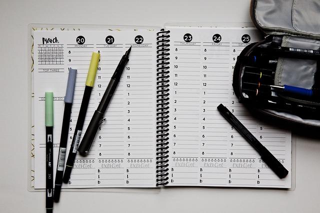 Planner, Open, Weekly, Spread, Tombow, Pens