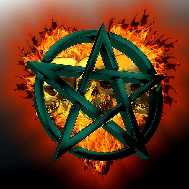 Pentagram, Symbol, Green, Fire, Skull And Crossbones