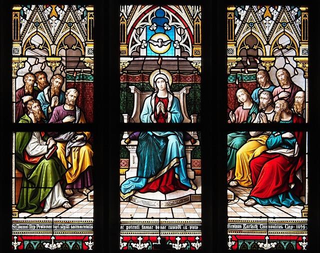 Stained-glass Windows, Pentecost, The Virgin Mary