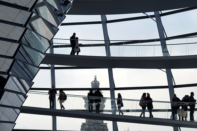 Berlin, The Reichstag, People, Silhouette, Mirror