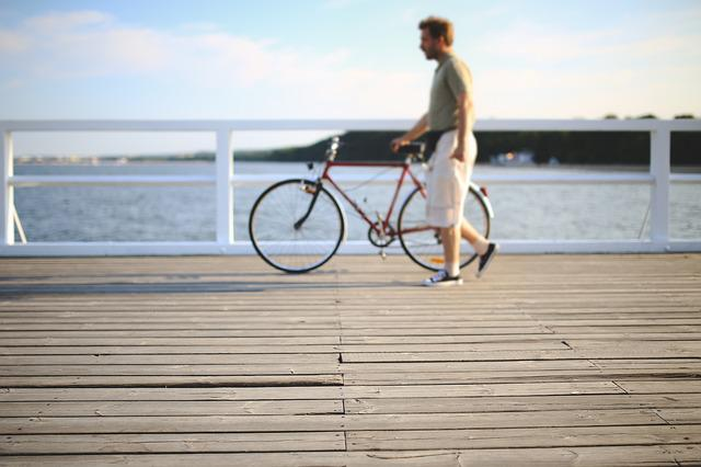 Man, People, Bicycle, Bike, Walk, Walking, Pier, Sport