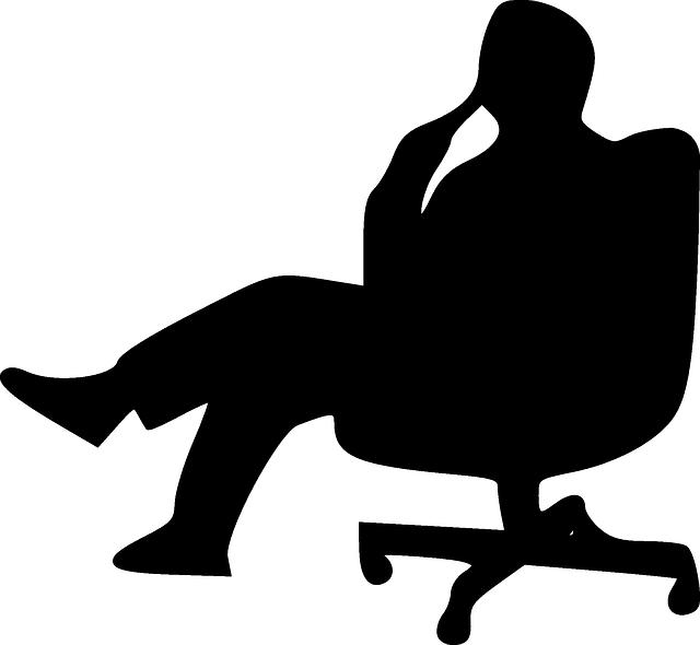 Black, Man, Thinking, Silhouette, People, Swivel Chair