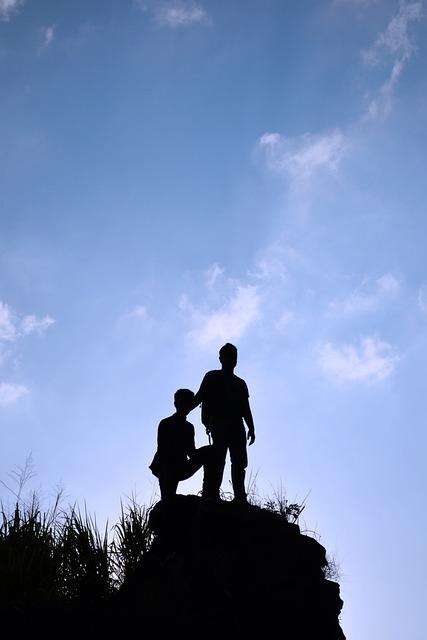 Silhouette, Boys, Sky, Tall, Rock, People, Blue Sky