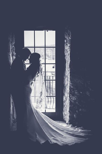 Bride, Couple, Dark, Door, Groom, Man, Marriage, People