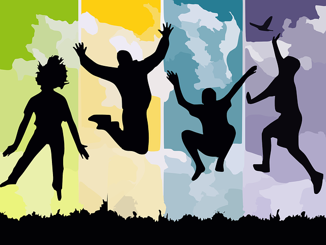 Freedom, Jump, Reach, Silhouettes, Young, People, Grass