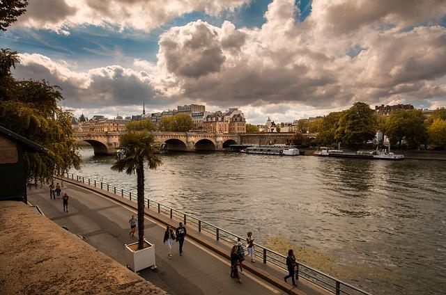Paris, Seine, Perspective, People, Promenade