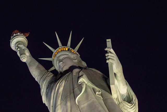 Replica, Statue, Of, Liberty, People, Las, Vegas