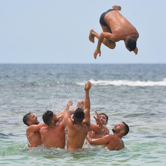 Men, Sea, People, Swimming Trunks, Summersault