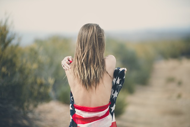 Blur, Outdoor, Back, People, Woman, Girl, Usa, Flag