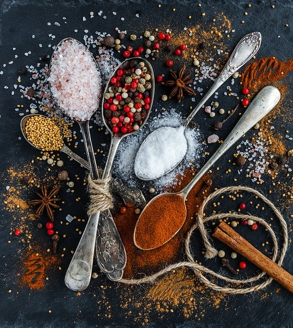 Salt, Pepper, Spoons, Spices, Ingredients, Condiments