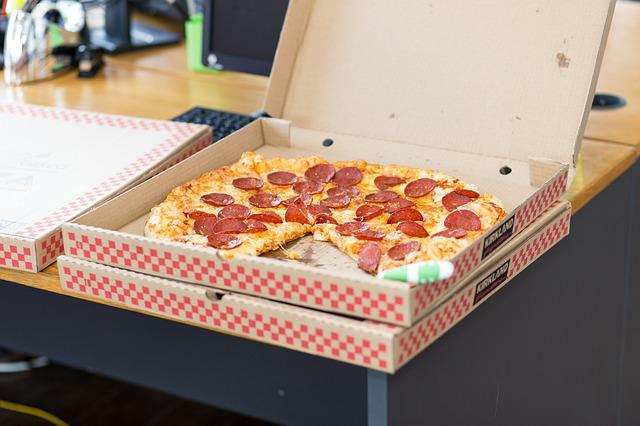 Pizza, Food, Takeout, Box, Pepperoni, Office, Snack