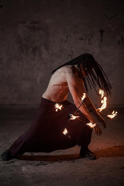 Fire, Man, Circus, Performer, Background, Night, Human