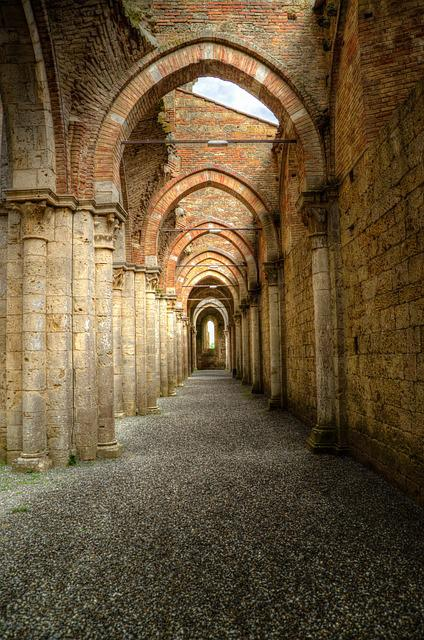 Archway, Peristyle, Gothic, Abbey, Hdr, Italy, Religion