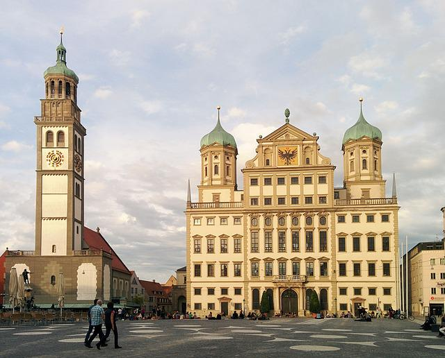 Augsburg, Town Hall Square, Perlachturm, City, Downtown