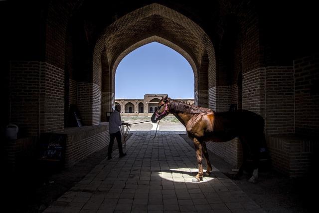 Caravansary, Horse, Man, Monument, Persian Architecture