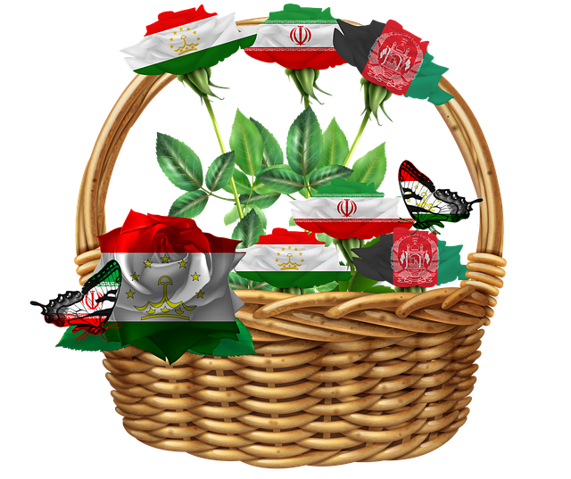 Persian, Basket, Basket With Roses, Flowers