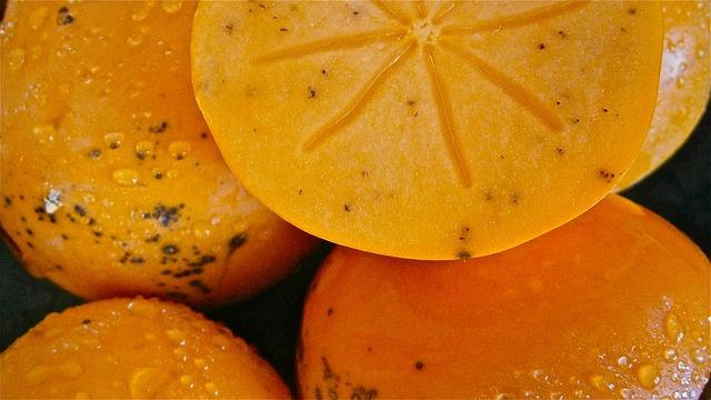 Khaki, Diospyros Kaki, Fruit, 3cmlong, Persimmons