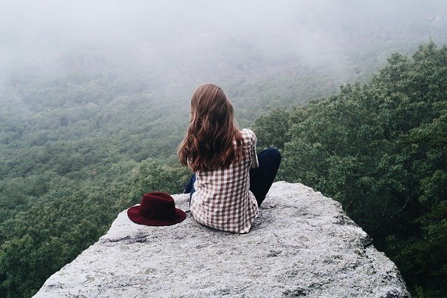 Girl, Woman, Female, Person, Mountain, View, Calm