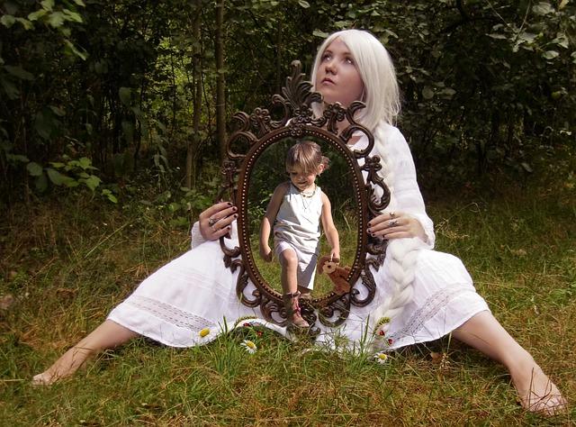 Person, Child, Mirror
