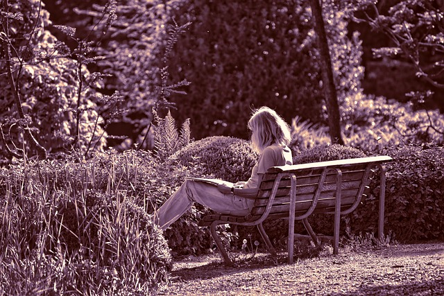 Person, Woman, Sitting, Reading, Bench, Garden