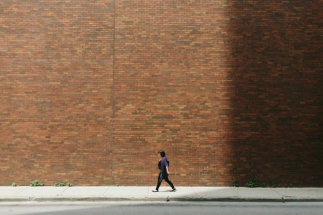 Brick Wall, Girl, Pavement, Person, Street, Walking