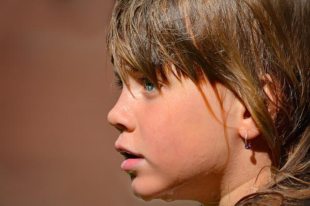 Person, Human, Child, Girl, Face, Wet, Close