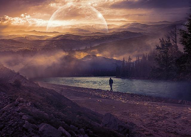 Person, Walking, Mountains, Mist, Trees, Lake, Way