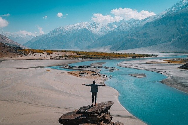 Landscape, Mountain, Water, Man, Person, View, Freedom