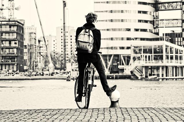 Person, Man, People, Bicycle, Standing, Leg, Support