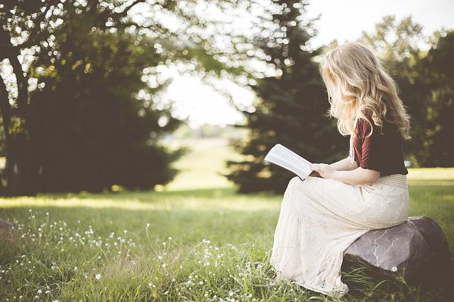 Blond, Blonde, Girl, Grass, Outdoors, Person, Reading