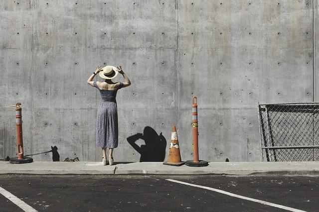 Building, Concrete, Pavement, Person, Retro, Shadow
