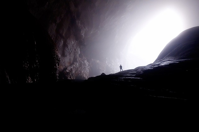 Cave, Light, Person, Rocky, Silhouette