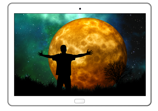 Tablet, Moon, Man, Silhouette, Joy, Person, Human