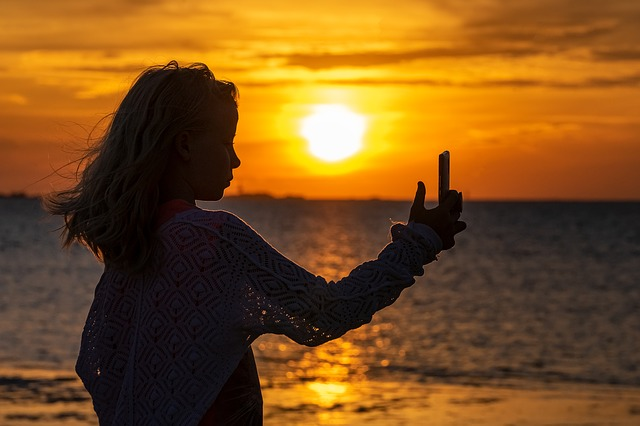 Selfie, Girl, Silhouette, Sunset, Human, Person, Child