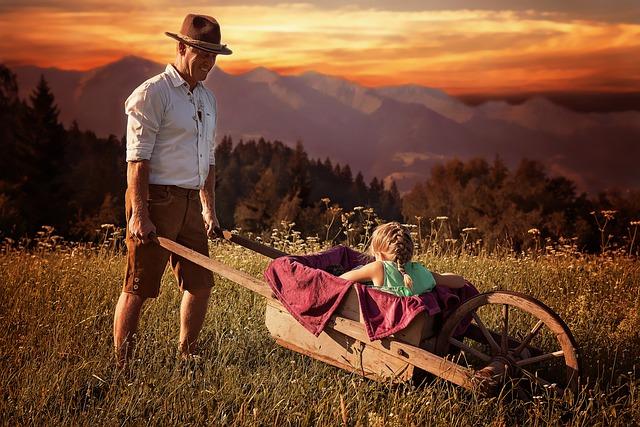 Human, Personal, Papa, Man, Child, Girl, Meadow