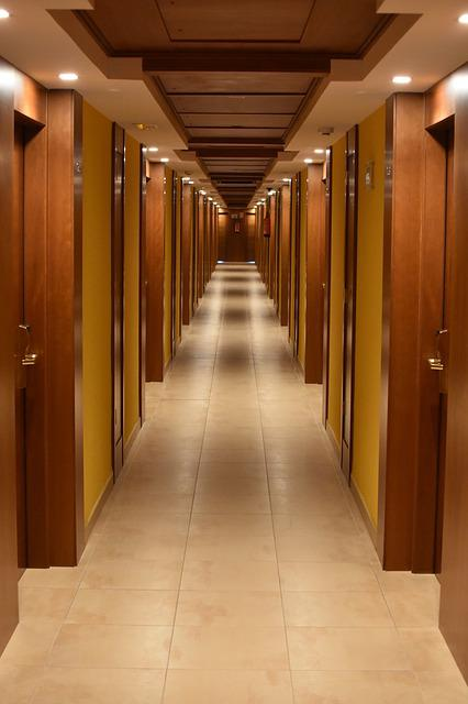 Gang, Hotel, Building, Aisle, Architecture, Perspective