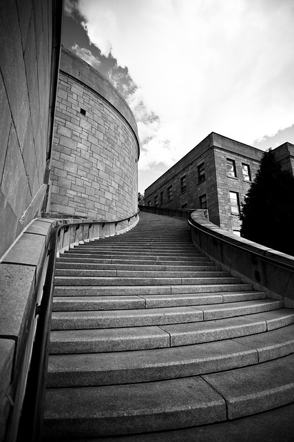 Stairs, Architecture, Perspective, Black And White
