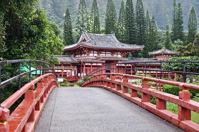 Bridge, Japanese, Temple, Perspective, Wooden