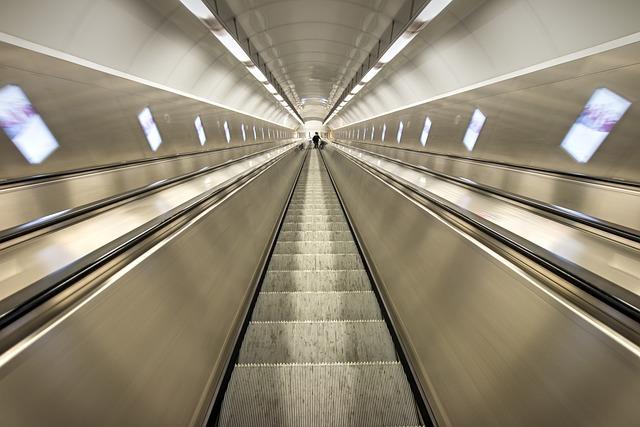 Escalator, Perspective, Tube, Tunnel