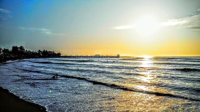 Sunset, Huanchaco, Costa, Mar, Sol, Beach, Peru