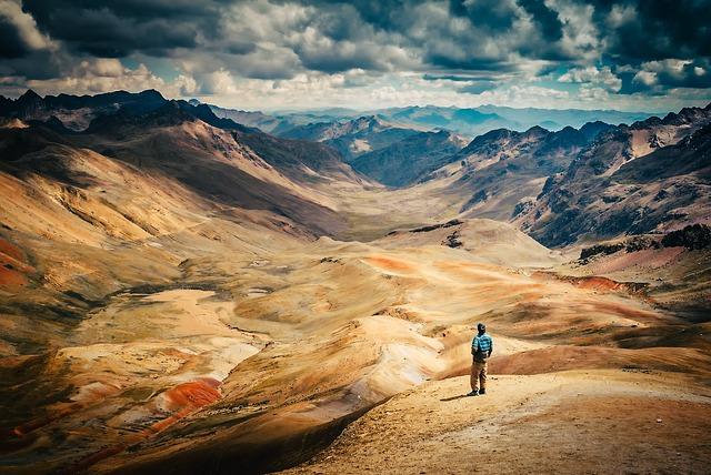 Peru, Figure, Man, Landscape, Mountains, Desert, Nature