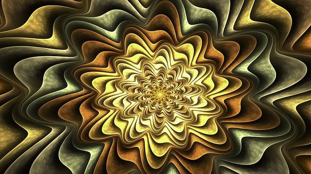 Fractal, Flower, Petals, Gold, Abstract, Fractal Art