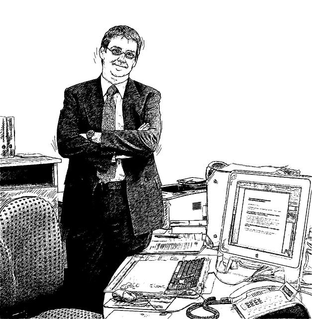 Man, Desk, Office, Computer, Monitor, Keyboard, Phone