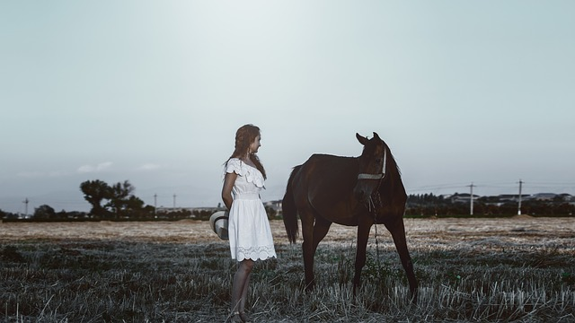 Photo Session With A Horse, Girl, Hat, White, Dress
